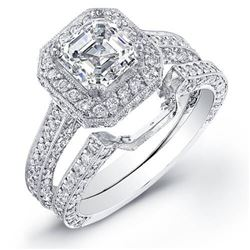 Natural 2.92 CTW Asscher Cut Halo Diamond Engagement Ring 14KT White Gold