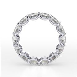 Natural 3.02 CTW Cushion Cut Diamond Eternity Ring 18KT White Gold