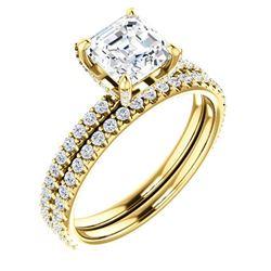Natural 2.12 CTW Halo Asscher Cut Diamond Ring 14KT Yellow Gold