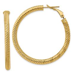 14k Yellow Gold Twisted Round Omega Back Hoop Earrings - 35 mm