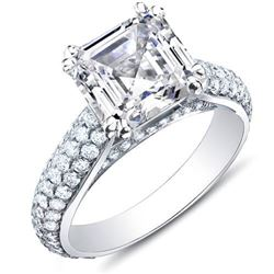 Natural 3.39 CTW Asscher Cut w/ Round Cut Micro Pave Diamond Engagement Ring 14KT White Gold