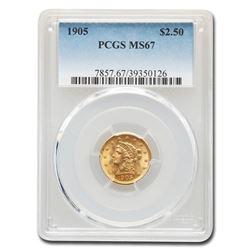 1905 $2.50 Liberty Gold Quarter Eagle MS-67 PCGS