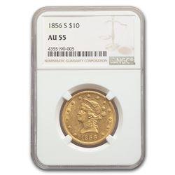 1856-S $10 Liberty Gold Eagle AU-55 NGC