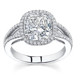Natural 2.96 CTW Cushion Cut w/ Halo of Round Cut Diamond Engagement Ring 14KT White Gold