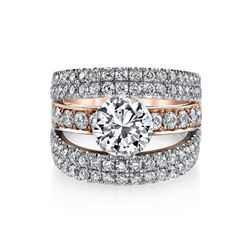Natural 3.02 CTW Round Cut Pave Set Split Shank Engagement Ring 18KT Two Tone
