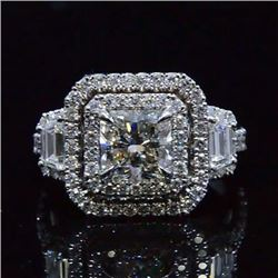 Natural 2.72 CTW Double Halo Square Radiant Cut Diamond Engagement Ring 14KT White Gold