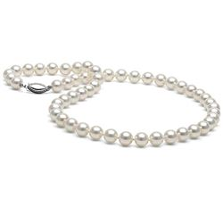 White Japanese Akoya Pearl Necklace, 6.5-7.0mm