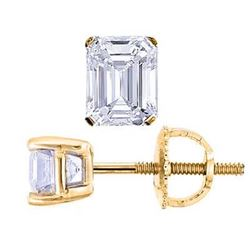 Natural 0.42 CTW Emerald Cut Diamond Stud Earrings 18KT Yellow Gold