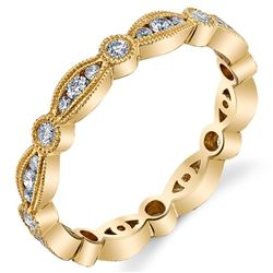 Natural 0.48 CTW Stackable Diamond Eternity Ring 18KT Yellow Gold
