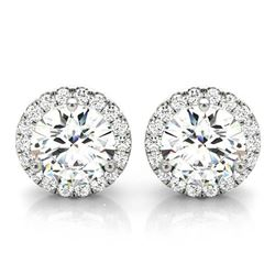 Natural 1.02 CTW Halo Round Brilliant Cut Diamond Stud Earrings 18KT White Gold