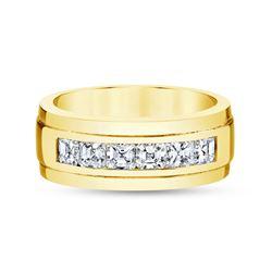 Natural 1.52 CTW Men's Asscher Cut Diamond Wedding Ring 14KT Yellow Gold