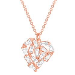 Natural 0.52 CTW Heart Baguette Diamond Necklace 14KT Rose Gold