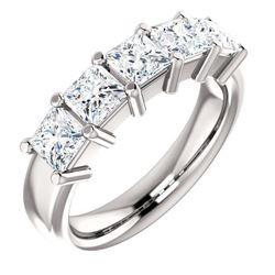 Natural 1.02 CTW Princess Cut 5-Stone Diamond Ring 18KT White Gold
