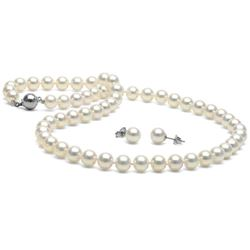 White Akoya Pearl 2-Piece Necklace and Earring Set, 7.0-7.5mm