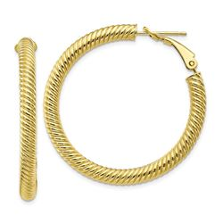 10k Yellow Gold Twisted Round Omega Back Hoop Earrings - 4x30 mm