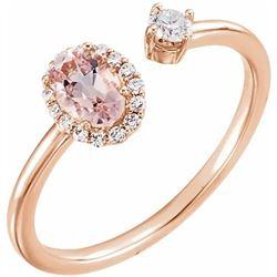 Natural 0.69 CTW Pink Morganite & Diamond Cuff Ring 18KT Rose Gold