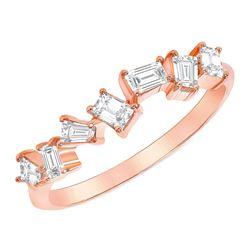 Natural 0.55 CTW Stackable Baguette Diamond Ring 14KT Rose Gold