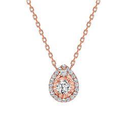 Natural 0.57 CTW Tear Drop Diamond Necklace 18KT Rose Gold