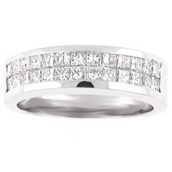 Natural 2.37 CTW Men's Princess Cut Diamond Wedding Band 14KT White Gold