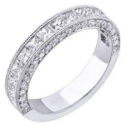 Natural 1.38 CTW Designer Princess Cut & Micro Pave Diamond Wedding Ring 14KT White Gold