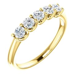 Natural 0.52 CTW Round Cut 5-Stone Diamond Wedding Anniversary Ring 14KT Yellow Gold