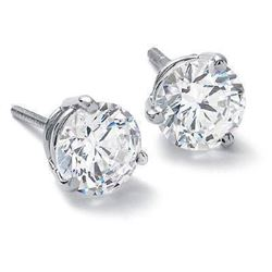 Natural 0.92 CTW Round Brilliant Cut Diamond Stud Earrings, Martini Style 14KT White Gold
