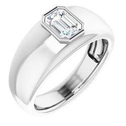 Natural 0.52 CTW Bezel Set Emerald Cut Men's Diamond Ring 14KT White Gold