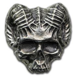 3 oz Hand Poured Silver - Devil Ram Skull