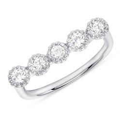 Natural 0.36 CTW Bezel Diamond Bar Ring 14KT White Gold