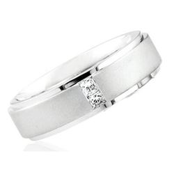 Natural 0.12 CTW Princess Cut Diamond Wedding Ring 18KT White Gold