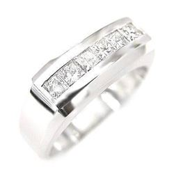 Natural 1.27 CTW Men's Diamond Ring 14KT White Gold