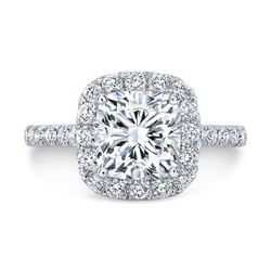 Natural 2.42 CTW Cushion Cut Halo Diamond Engagement Ring 14KT White Gold