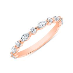 Natural 0.52 CTW Marquise Cut and Round Cut Diamond Ring 14KT Rose Gold