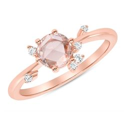 Natural 0.52 CTW Rose Cut Diamond Cluster Ring 18KT Rose Gold