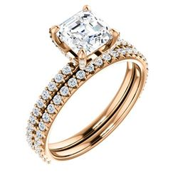 Natural 2.32 CTW Halo Asscher Cut Diamond Ring 14KT Rose Gold