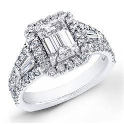 Natural 1.92 CTW Halo Emerald Cut Baguettes Diamond Engagement Ring 18KT White Gold