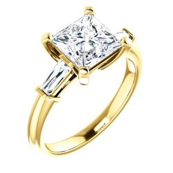 Natural 2.02 CTW Princess Cut & Baguettes 3-Stone Diamond Ring 14KT Yellow Gold