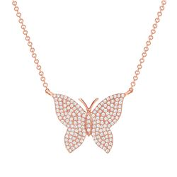 Natural 0.72 CTW Butterfly Diamond Necklace 18KT Rose Gold