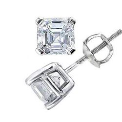 Natural 1.02 CTW Asscher Cut Diamond Stud Earrings 18KT White Gold