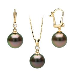 Black Tahitian Pearl and Diamond Bezel Dangle Earrings and Pendant Set