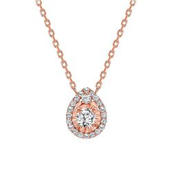 Natural 0.57 CTW Tear Drop Diamond Necklace 14KT Rose Gold