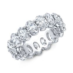 Natural 4.02 CTW Oval Cut Diamond Eternity Ring 14KT White Gold