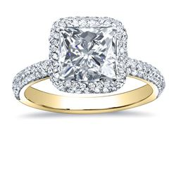 Natural 2.47 CTW Princess Cut Halo Pave Diamond Engagement Ring 18KT Yellow Gold