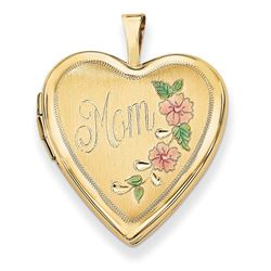 14k Yellow Gold Enamel Flowers Mom Heart Locket - 24 mm