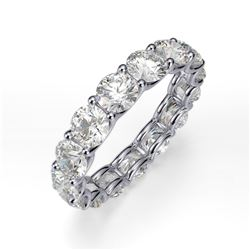 Natural 5.02 CTW U-Setting Round Brilliant Diamond Eternity Ring 18KT White Gold