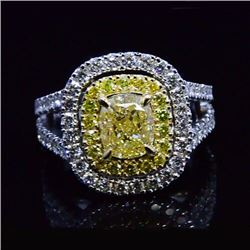 Natural 1.92 CTW Canary Yellow Double Halo Cushion Cut Diamond Ring 18KT Two-tone