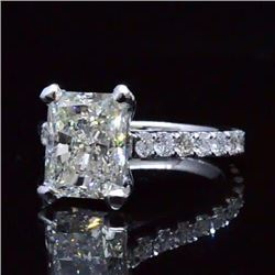 Natural 3.82 CTW Rectangle Radiant Cut Diamond Engagement Ring 18KT White Gold