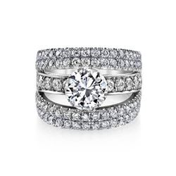 Natural 3.32 CTW Round Cut Pave Set Split Shank Engagement Ring 18KT White Gold
