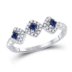 14kt White Gold Womens Round Blue Sapphire Fashion Ring 1/4 Cttw