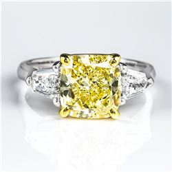 Natural 3.12 CTW Canary Yellow Cushion Cut & Bullet Cut 3-Stone Diamond Ring 18KT Two-tone